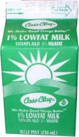 1% Lowfat Milk  (Paper Half Pint)